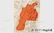 Political 3D Map of Kalat, satellite outside