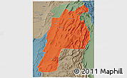 Political 3D Map of Kalat, semi-desaturated