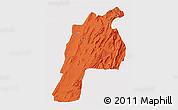 Political 3D Map of Kalat, single color outside