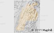 Satellite 3D Map of Kalat, desaturated