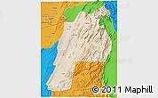 Satellite 3D Map of Kalat, political outside