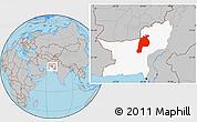 Gray Location Map of Kalat, highlighted parent region