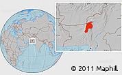 Gray Location Map of Kalat, hill shading