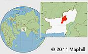 Savanna Style Location Map of Kalat, highlighted parent region