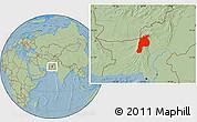 Savanna Style Location Map of Kalat, hill shading