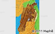 Physical Map of Kalat, political outside
