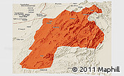 Political Panoramic Map of Kalat, shaded relief outside