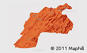 Political Panoramic Map of Kalat, single color outside