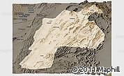 Satellite Panoramic Map of Kalat, darken