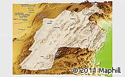 Satellite Panoramic Map of Kalat, physical outside