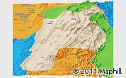 Satellite Panoramic Map of Kalat, political outside