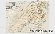 Satellite Panoramic Map of Kalat, shaded relief outside