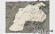 Shaded Relief Panoramic Map of Kalat, darken