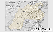 Shaded Relief Panoramic Map of Kalat, desaturated