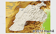 Shaded Relief Panoramic Map of Kalat, physical outside