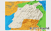 Shaded Relief Panoramic Map of Kalat, political outside