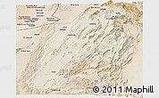 Shaded Relief Panoramic Map of Kalat, satellite outside