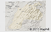 Shaded Relief Panoramic Map of Kalat, semi-desaturated