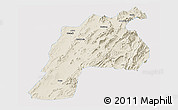 Shaded Relief Panoramic Map of Kalat, single color outside