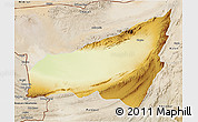 Physical 3D Map of Kharan, satellite outside
