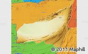 Physical Map of Kharan, political outside