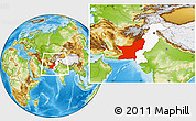 Physical Location Map of Baluchistan, highlighted country, within the entire country
