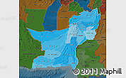 Political Shades Map of Baluchistan, darken