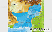 Political Shades Map of Baluchistan, physical outside