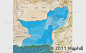 Political Shades Map of Baluchistan, satellite outside