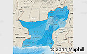 Political Shades Map of Baluchistan, shaded relief outside