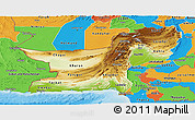 Physical Panoramic Map of Baluchistan, political outside