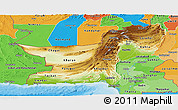 Physical Panoramic Map of Baluchistan, political shades outside