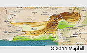 Physical Panoramic Map of Baluchistan, satellite outside