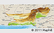 Physical Panoramic Map of Baluchistan, shaded relief outside