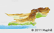 Physical Panoramic Map of Baluchistan, single color outside