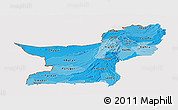 Political Shades Panoramic Map of Baluchistan, cropped outside