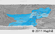 Political Shades Panoramic Map of Baluchistan, desaturated