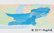 Political Shades Panoramic Map of Baluchistan, lighten