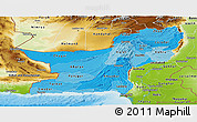 Political Shades Panoramic Map of Baluchistan, physical outside