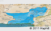 Political Shades Panoramic Map of Baluchistan, satellite outside
