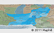 Political Shades Panoramic Map of Baluchistan, semi-desaturated