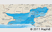 Political Shades Panoramic Map of Baluchistan, shaded relief outside