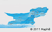 Political Shades Panoramic Map of Baluchistan, single color outside