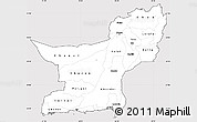 Silver Style Simple Map of Baluchistan, cropped outside