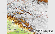 Physical 3D Map of Jammu and Kashmir