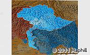 Political Shades 3D Map of Jammu and Kashmir, darken