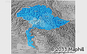 Political Shades 3D Map of Jammu and Kashmir, desaturated