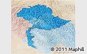Political Shades 3D Map of Jammu and Kashmir, lighten