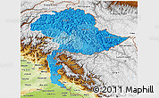 Political Shades 3D Map of Jammu and Kashmir, physical outside