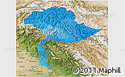 Political Shades 3D Map of Jammu and Kashmir, satellite outside